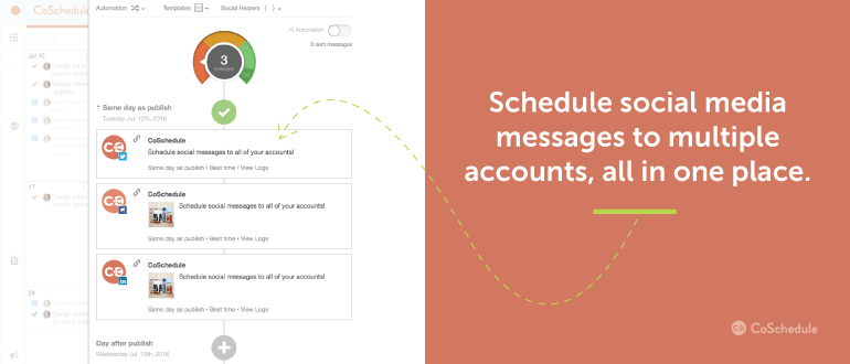 Schedule social media messages to multiple accounts, all in one place.