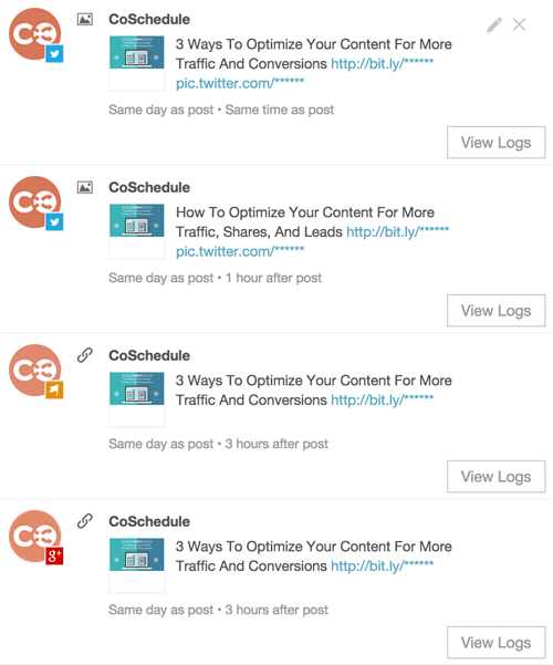 overview of social channels where CoSchedule shares content