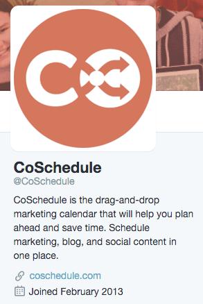 CoSchedule Twitter Bio screenshot