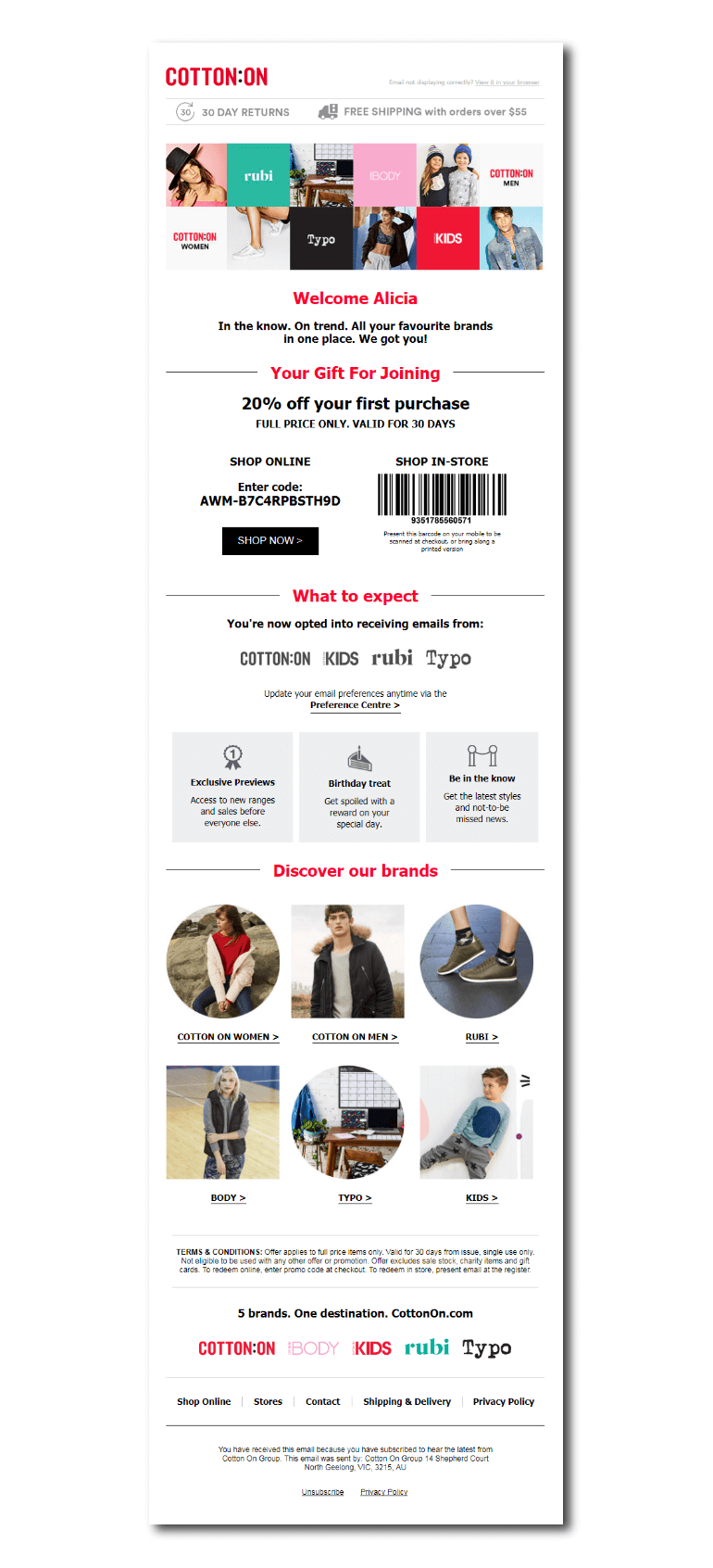 Example of a welcome email from Cotton On