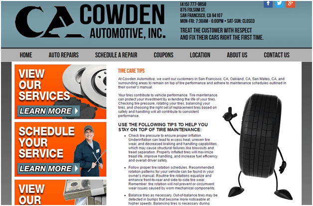 Automotive services website