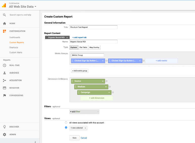 Create a custom report in Google Analytics - Campaign settings