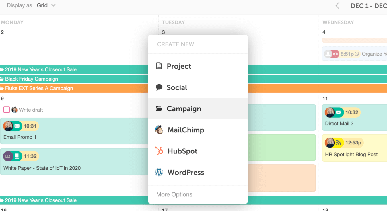Create a marketing campaign in CoSchedule