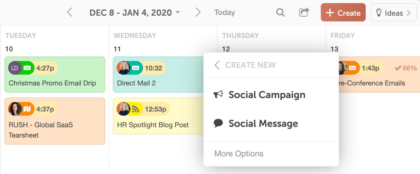 Creating a social post in CoSchedule