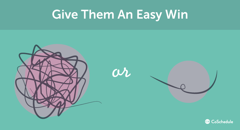 give your audience an easy win when creating content