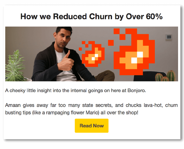 Example of creative copy in an email from Bonjoro