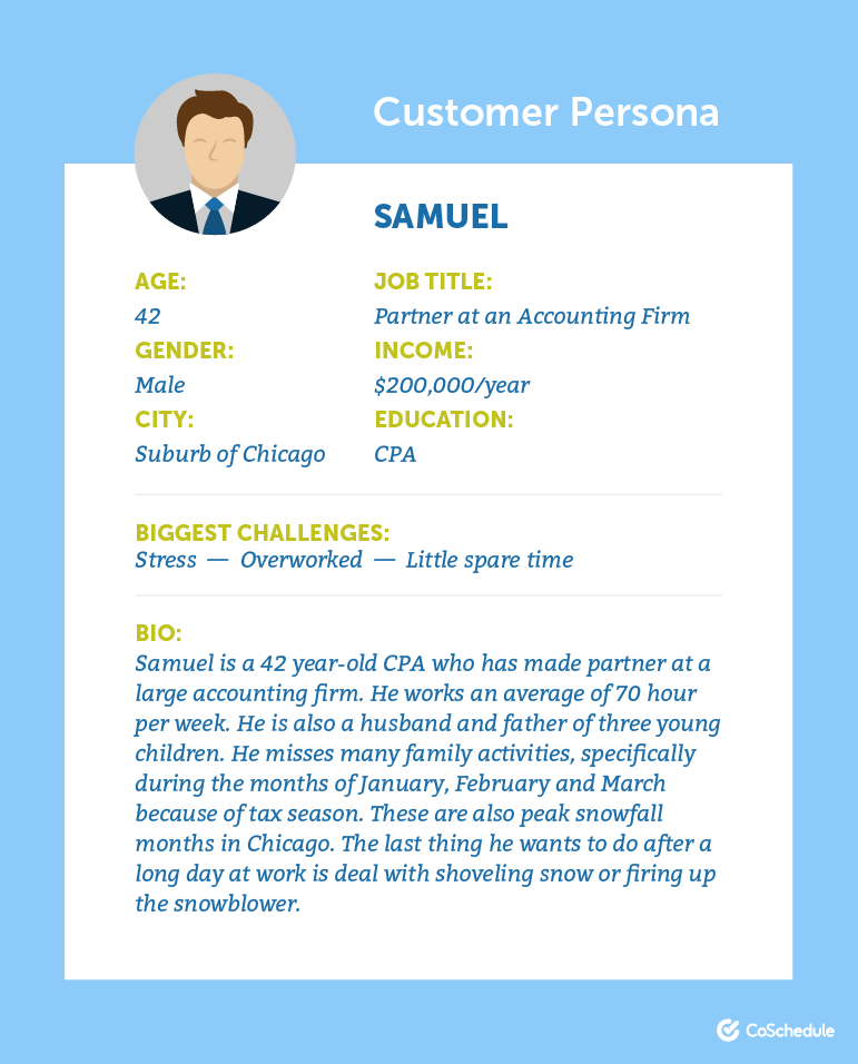 Example of a customer persona