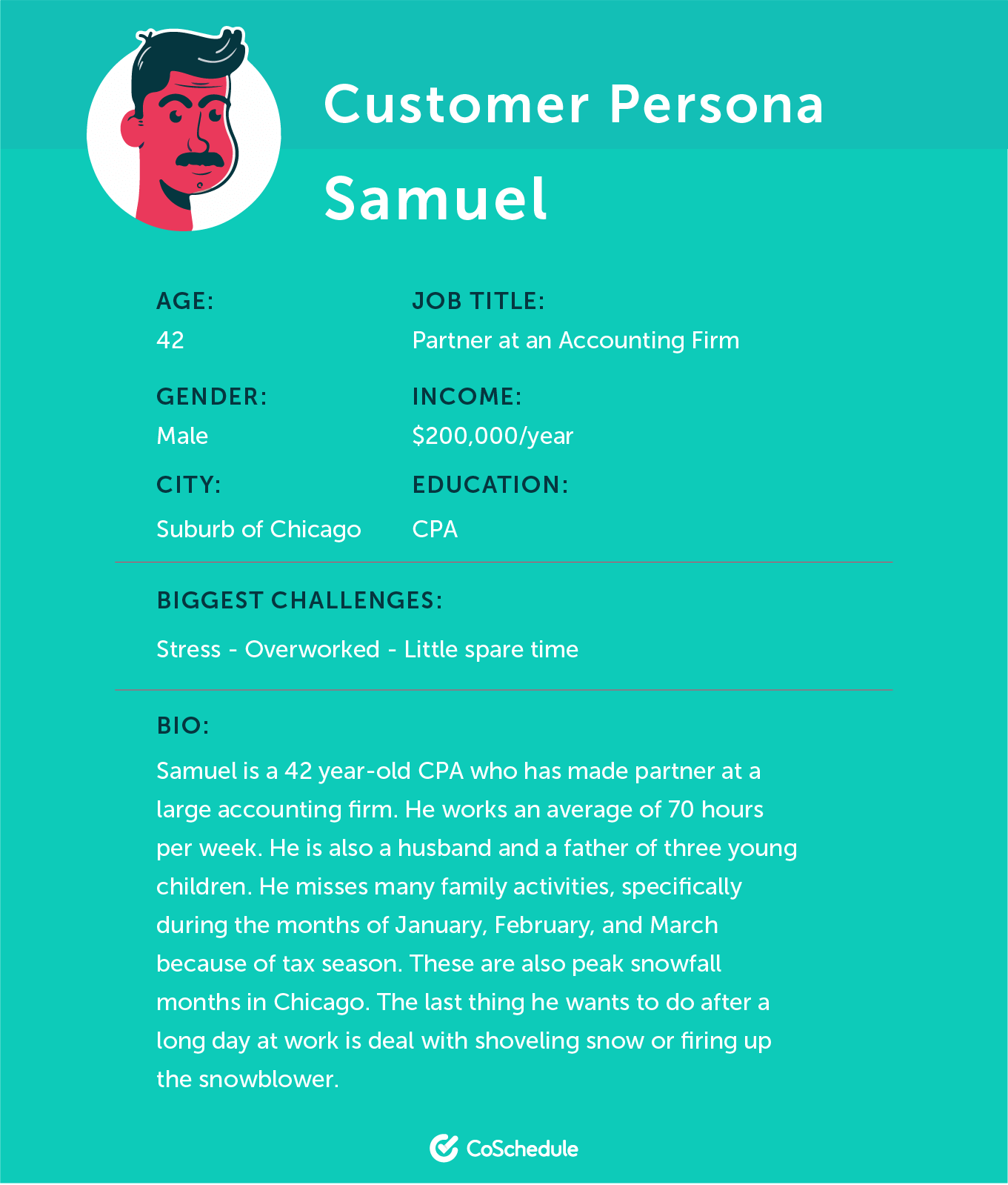 Characteristics of customer persona, Samuel