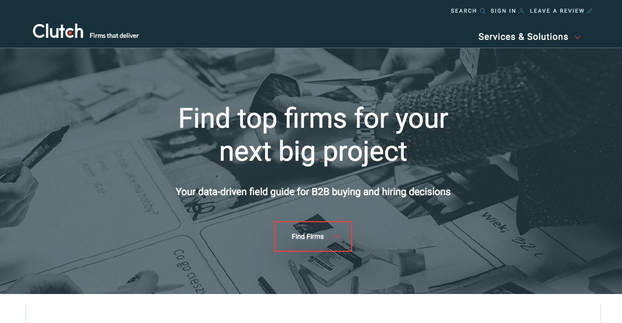 Clutch homepage for finding firms to assign you big projects