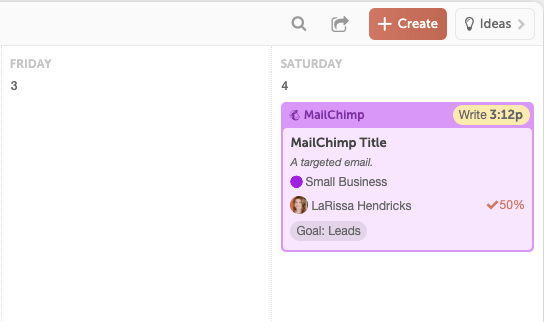 Project in the CoSchedule Marketing Calendar