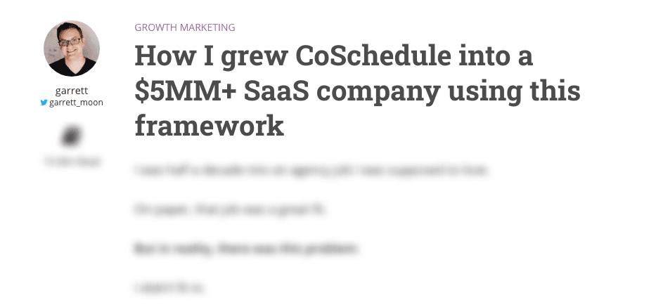 A headline about growth marketing from Garrett Moon