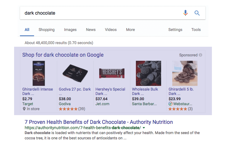 Dark chocolate shopping search results in Google