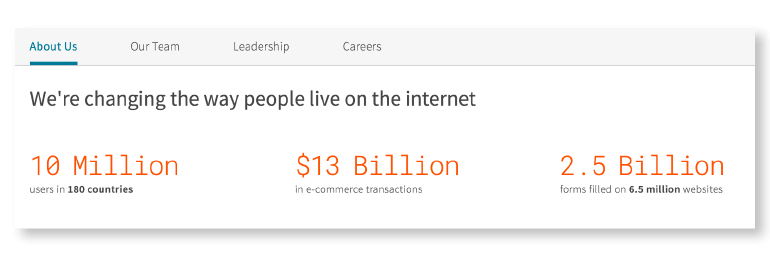 Example from the Dashlane about us page