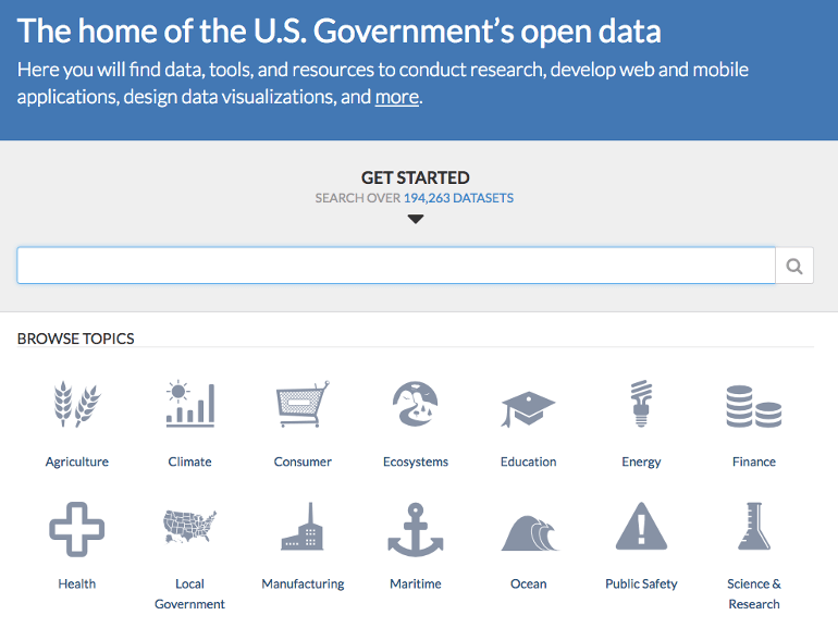 Home page for Data.gov