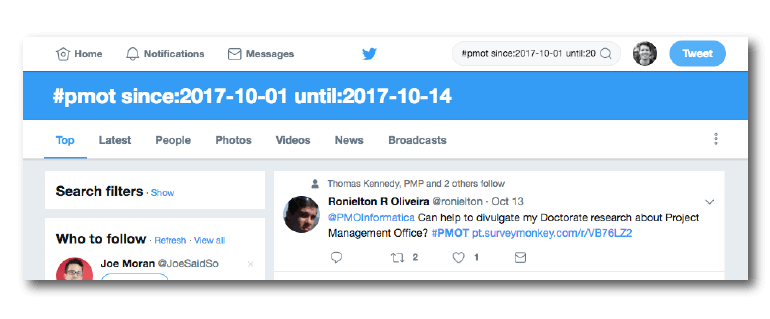 Date operators in a search on Twitter.