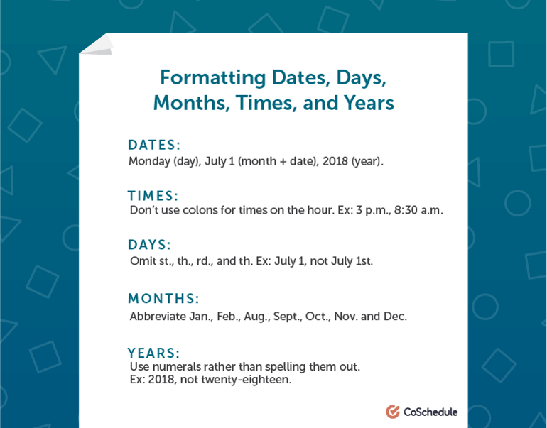 How to Format Dates, Days, Months, Times, and Years in AP Style