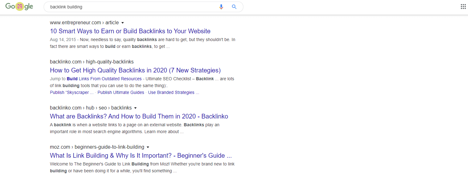 Google search page for backlink building