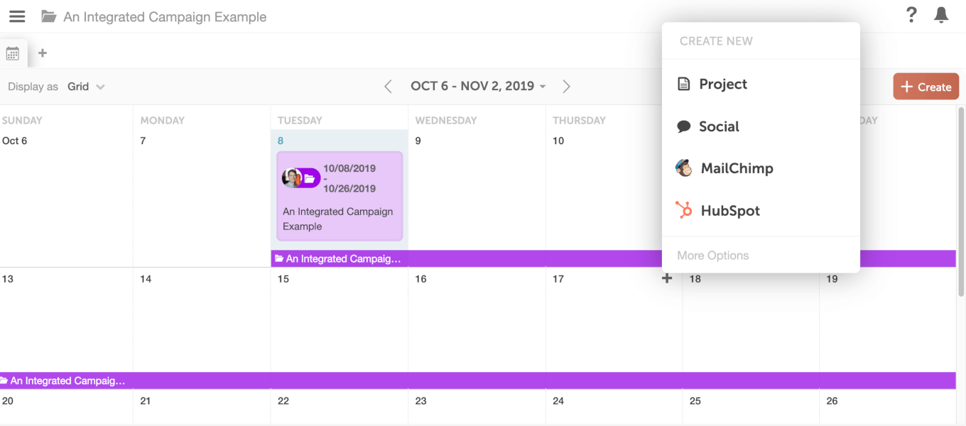 Start adding pieces to your campaign CoSchedule calendar screenshot