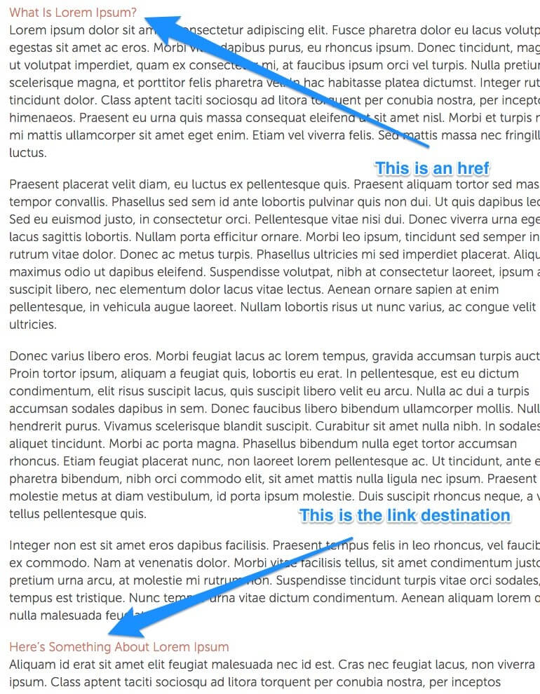 Example of an on-page deep link