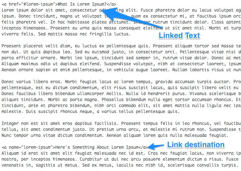 Example of deep link HTML