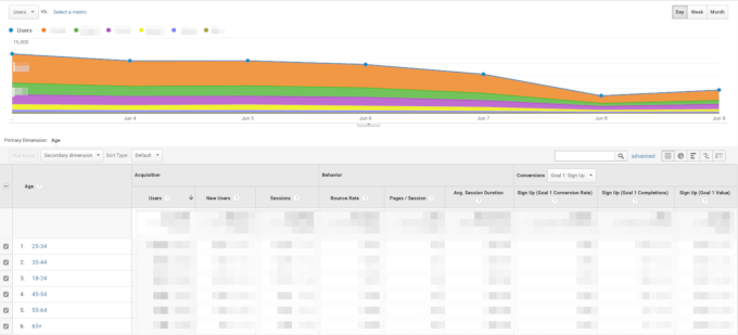 Demographic data in Google Analytics