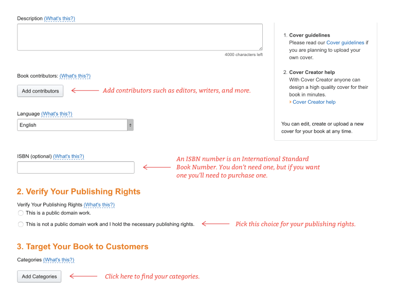 Where to enter book description and verify rights