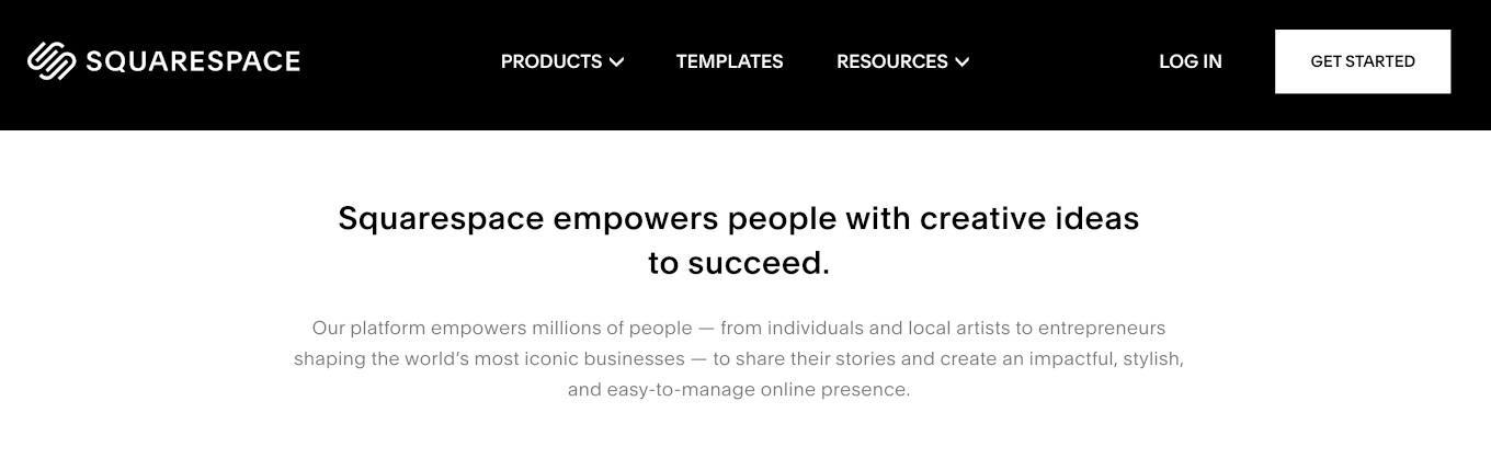 The mission statement for the website Squarespace