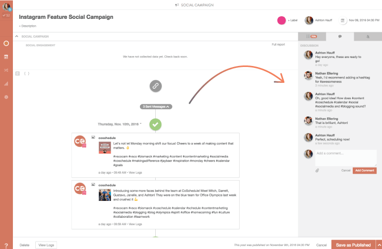 Discuss Instagram projects with your team.