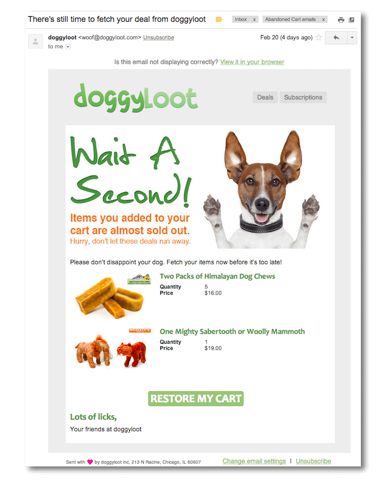 Email from Doggy Loot for promotions and shopping cart reminders