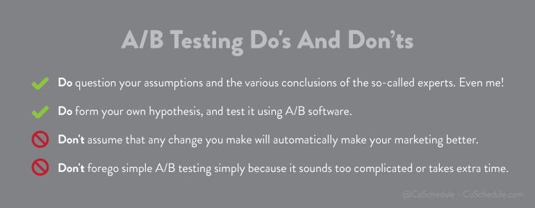 a b testing dos and donts