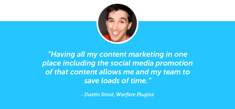 Having all my content marketing in one place including the social media promotion of that content allows me and my team to save loads of time.