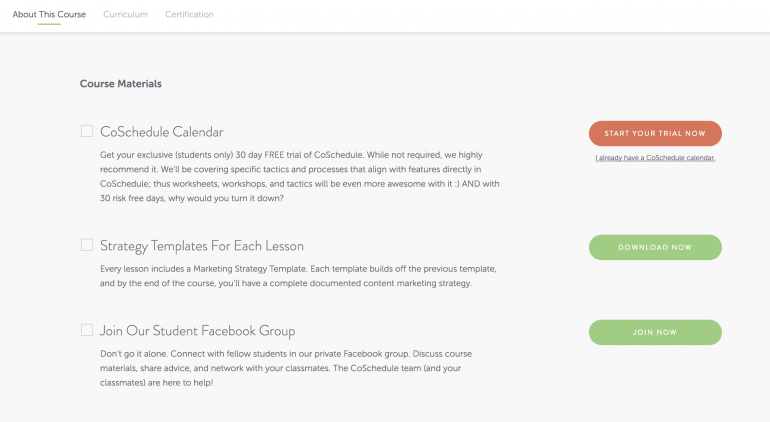 Screenshot from the CoSchedule e-course
