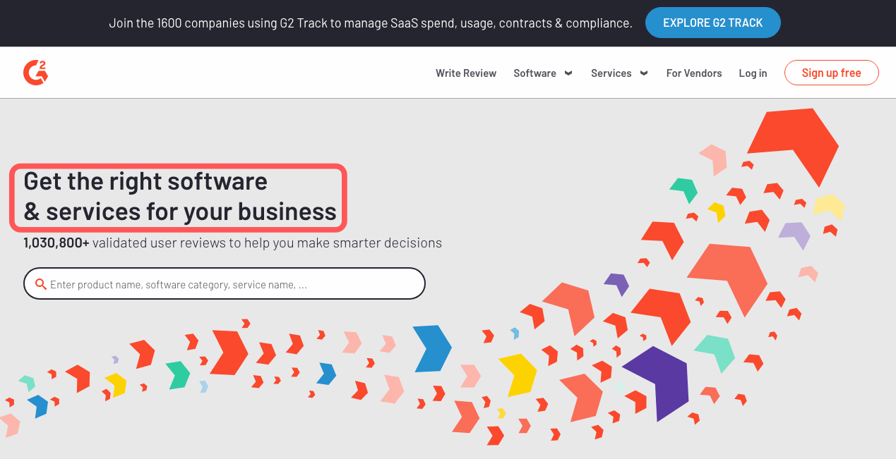 The homepage for G2 - where you can get software and services
