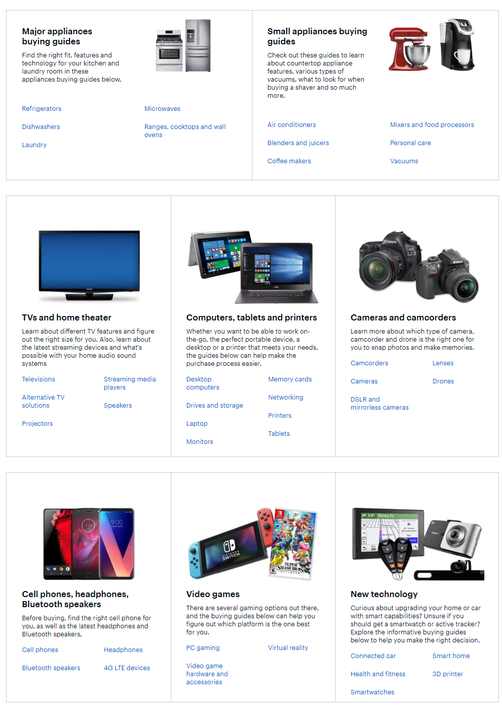 Example of an ecommerce page