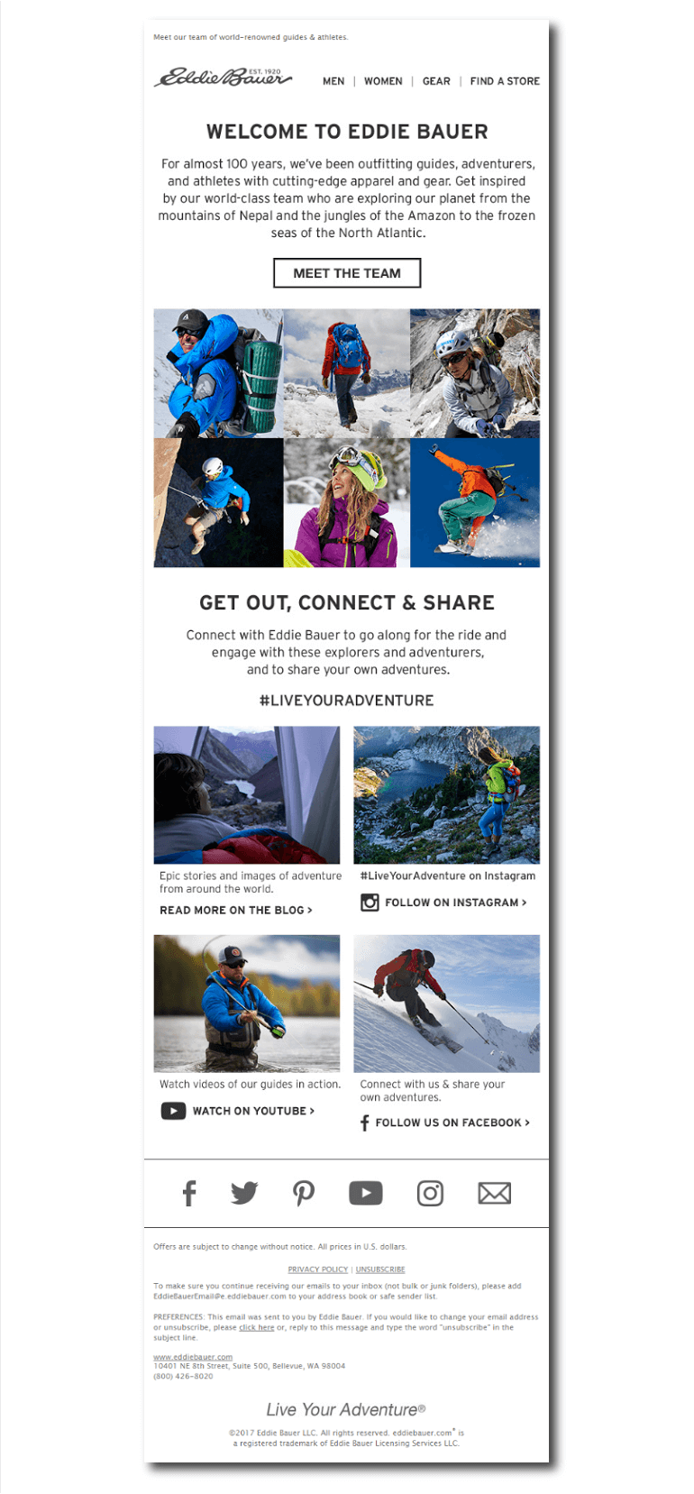 Example of a welcome email from Eddie Bauer