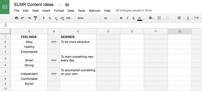 Spreadsheet for ELMR-based content ideas