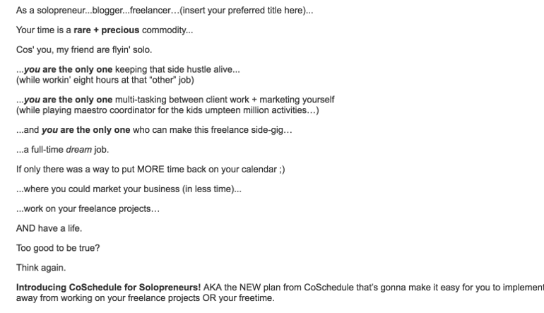 Example of quality email copy