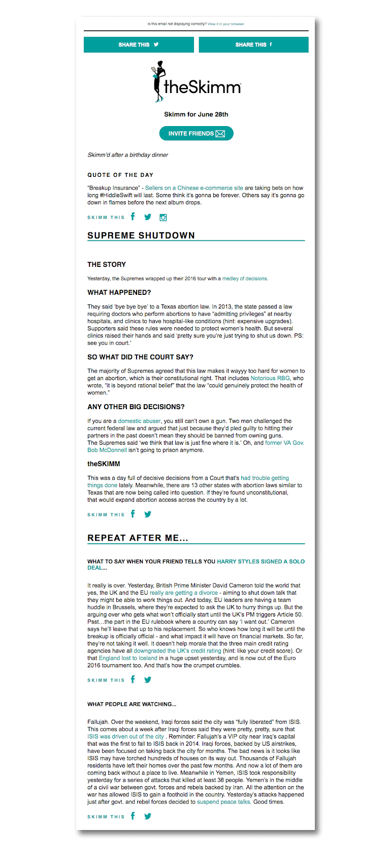 Example of an email newsletter from the Skimm