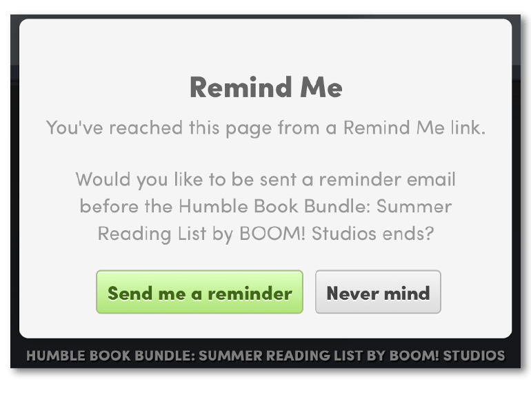 Example of an email reminder call-to-action from Humble Bundle