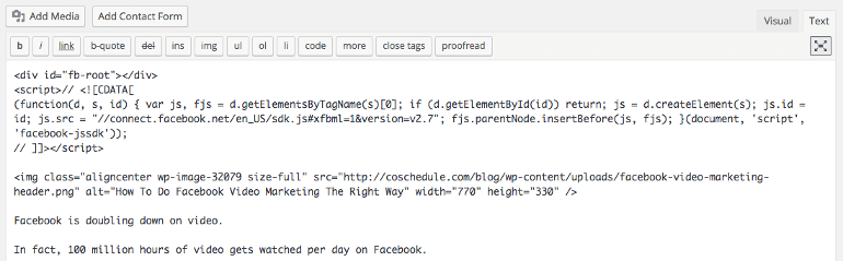 Where to place Facebook video embed code in WordPress