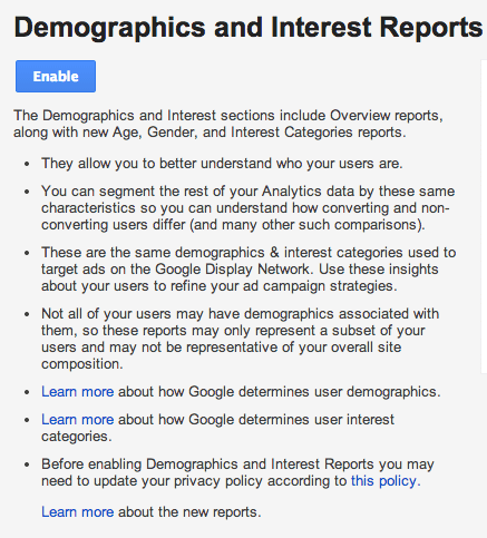 enable demographics