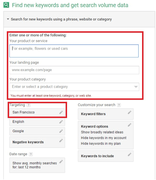 Enter keywords and get search data