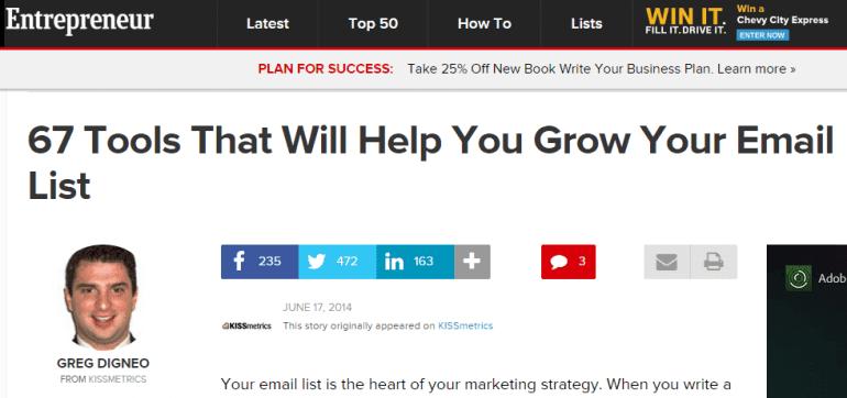 Entrepreneur guest blogging