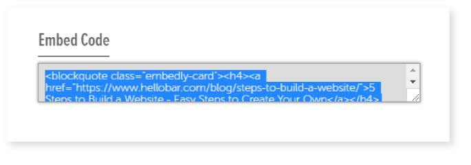 Example of an embed code