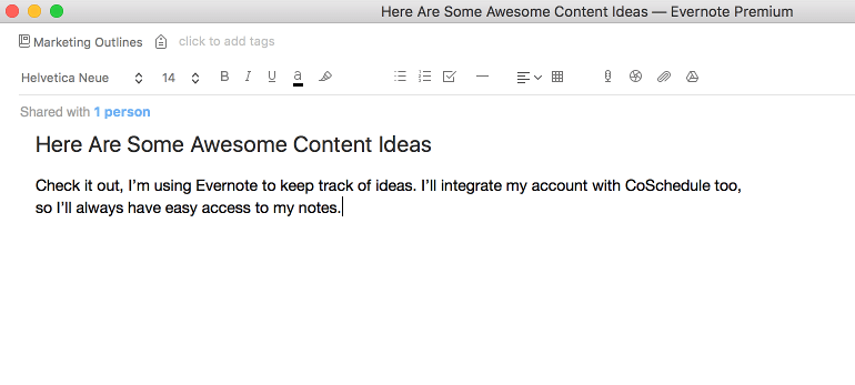 Example of a note in Evernote