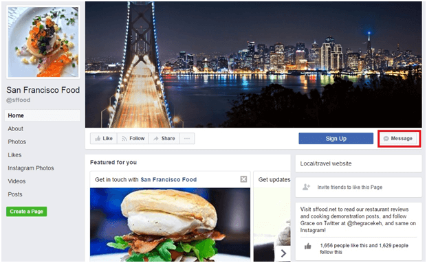 Example of a Facebook brand page