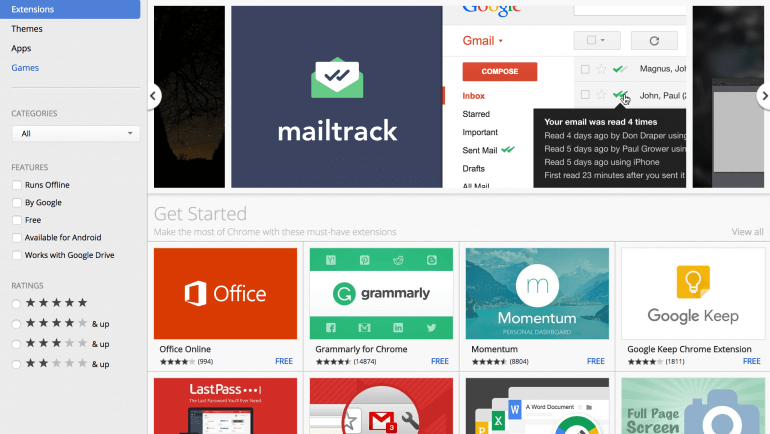 Example of the Chrome extension