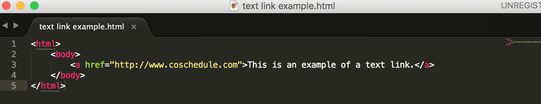 Example of a text link in HTML