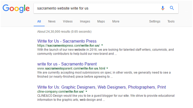 Example of a search for Write For Us pages