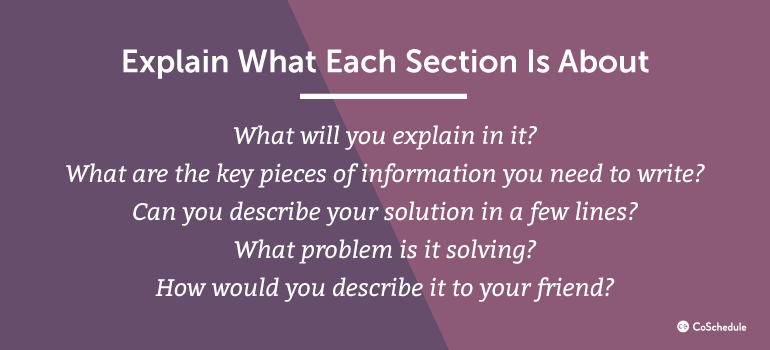 Explain What Each Section Is About
